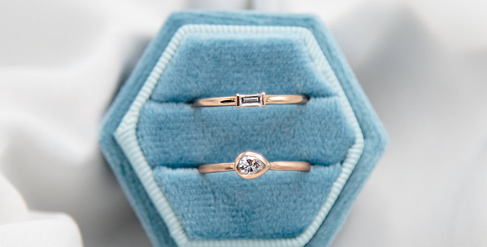 Diamond Baguette Band Engagement Ring in 14k Rose Gold set with 0.14 ct Baguette