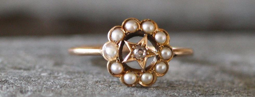 Victorian Diamond and Pearl Crescent Moon & Sta Conversion Ring in 14k Pink Gold