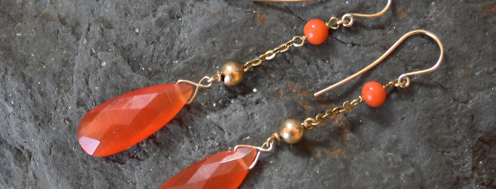 14k Yellow Gold Coral and Fire Opal Drop Earrings