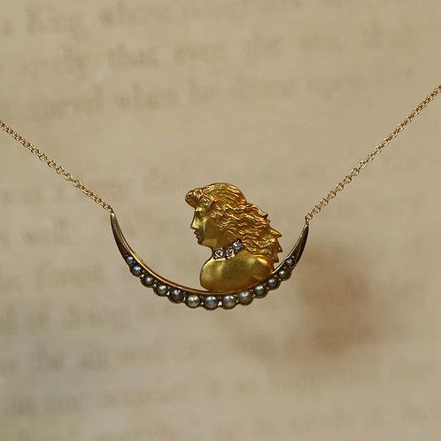 Antique Art Nouveau Crescent Moon Diamond & Pearl Necklace / Alphonse Mucha
