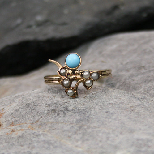 Victorian Turquoise and Pearl Flower Ring in 10k Yellow Gold