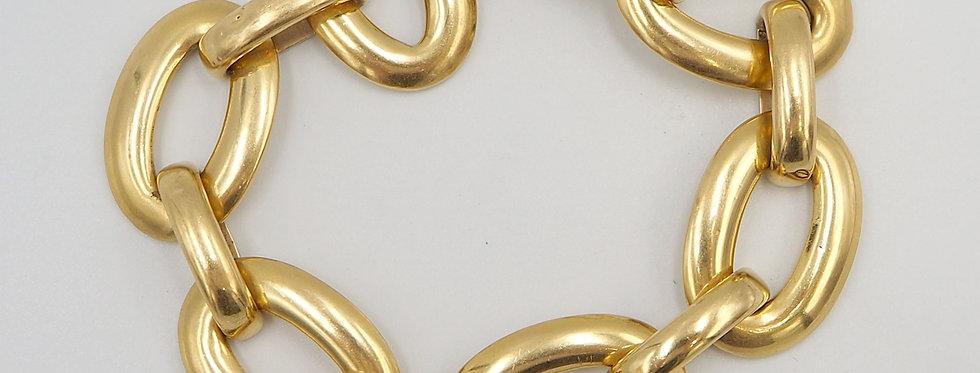 Mid Century Heavy Gold Link Bracelet