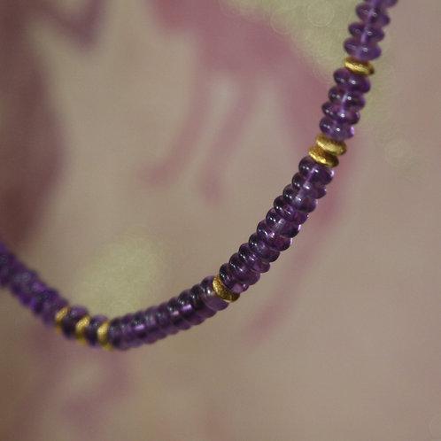 UpCycled RePurposed Amethyst Neckalce / Purple Rain Amethyst and 22k Gold Beads