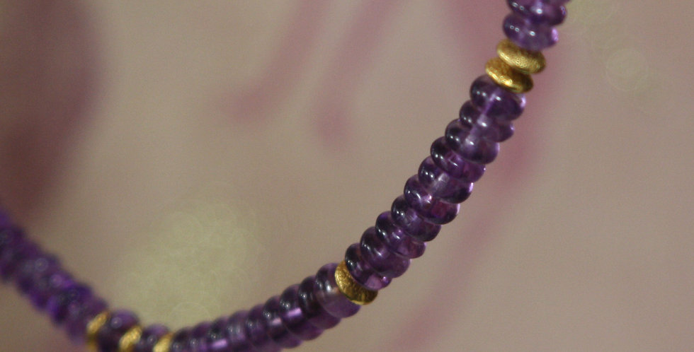 Purple Rain Amethyst Necklace with 22k Gold Beads