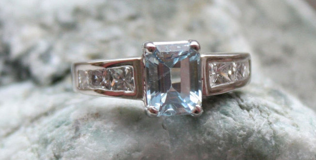 Aquamarine and Princess Cut Diamond Ring in 14k White Gold