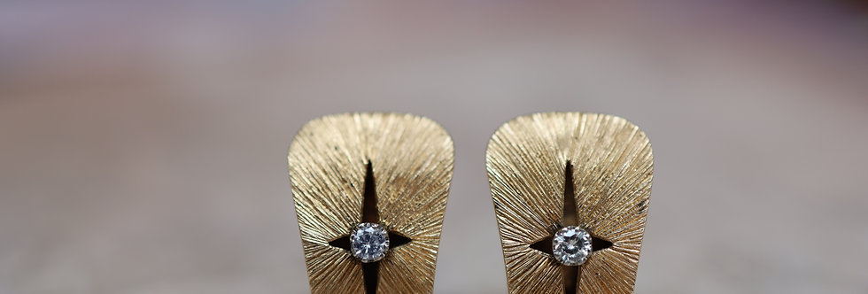 Mid Century 14k Yellow Gold Earrings Clip On Non Pierced - DK447