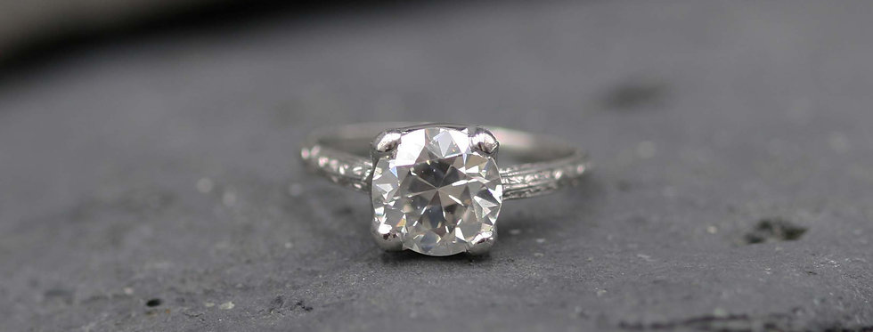 Antique Diamond Ring / 2.71 ct Old European Cut Diamond GIA Certified in Plt