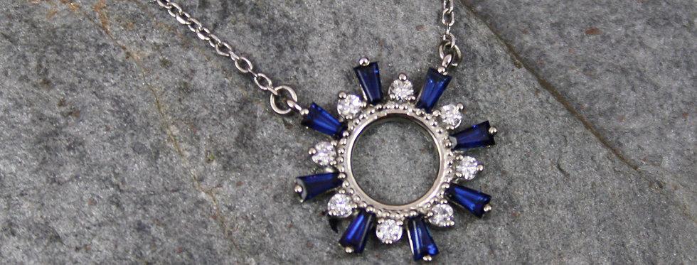 Sapphire & Diamond Pendant in 14k White Gold