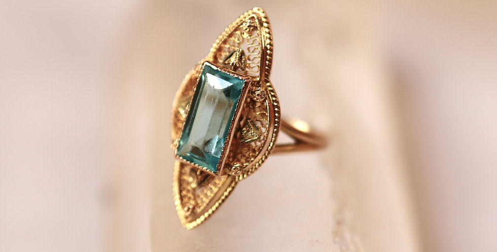 Antique Cannetille Ring with Step Cut Blue Fluorite in 10k Gold