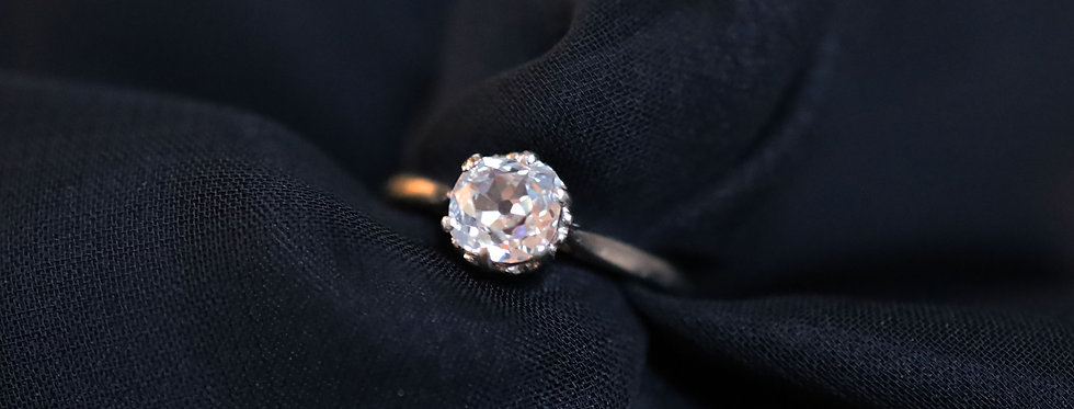 Edwardian Diamond Ring / Old Mine Cut Diamond Engagement Ring 0.91 cts Set in 14