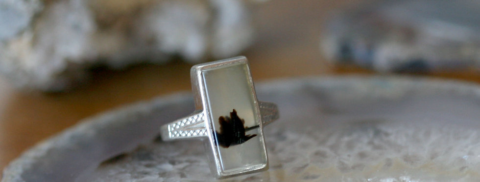 Art Deco Moss Agate Ring in Sterling Silver