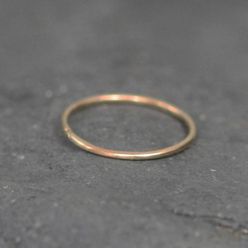 Solid 14k Gold 1 mm Wide Band Finger Size Thumb Ring Wedding Band Knuckle Ring -