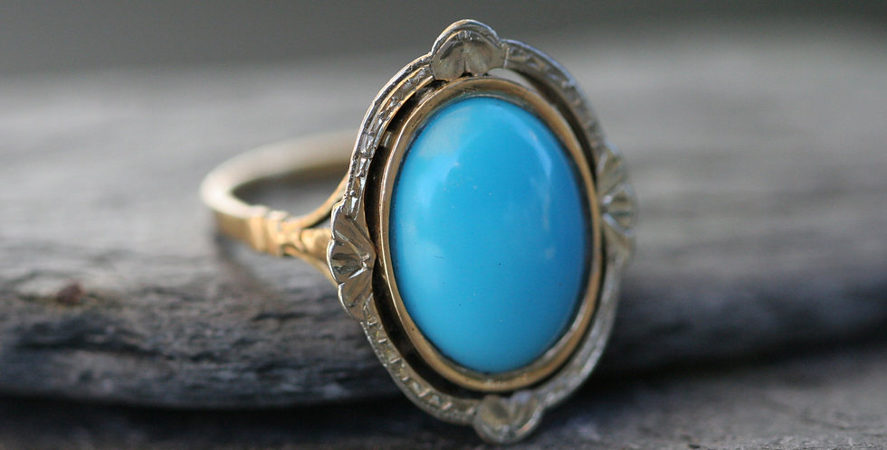 Edwardian Turquoise Ring French Hallmarked Victorian 18k White and Yellow Gold