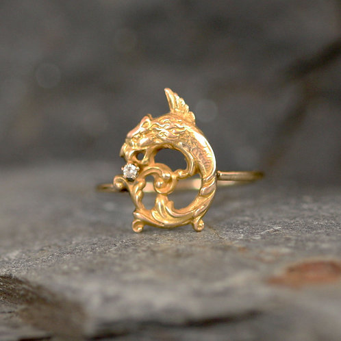 Victorian Diamond Gryphon Griffon Ring in 14k Yellow Gold