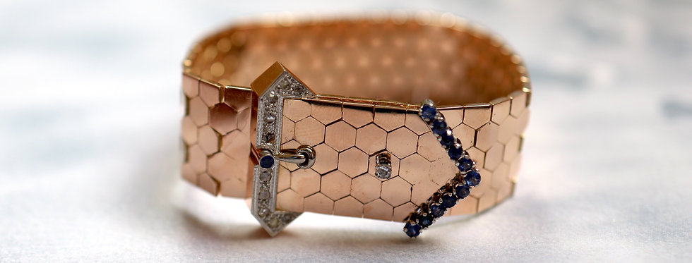 Retro Diamond and Sapphire Buckle Bracelet circa 1940