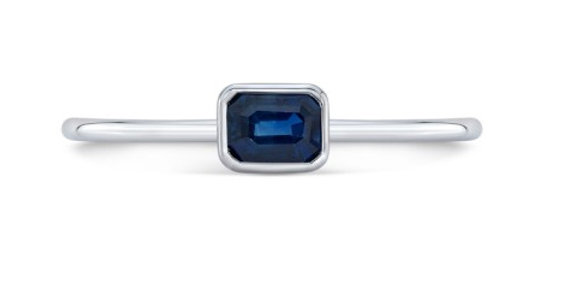 Emerald Cut Sapphire Stacking Ring Minimalist Style