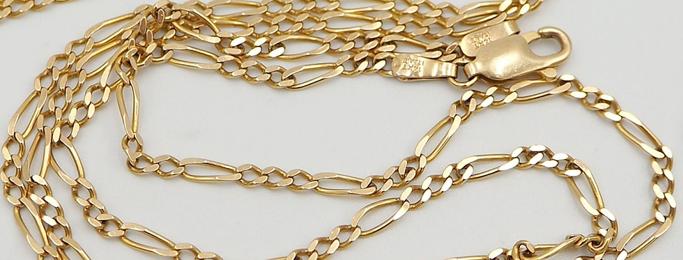 14k Yellow Gold Chain 33.5 Inch Figaro Chain 2 mm Wide