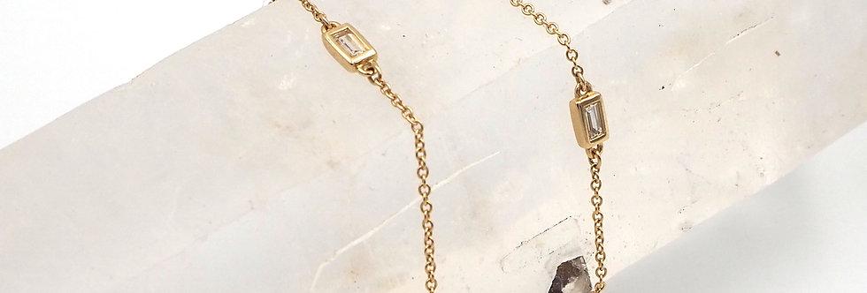 Diamond Baguette Station Necklace