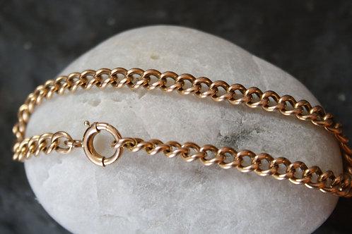 """Victorian Bracelet - 9k Pink Gold Bracelet - 4.4 mm Links - 14k Rose Gold 7 """""""
