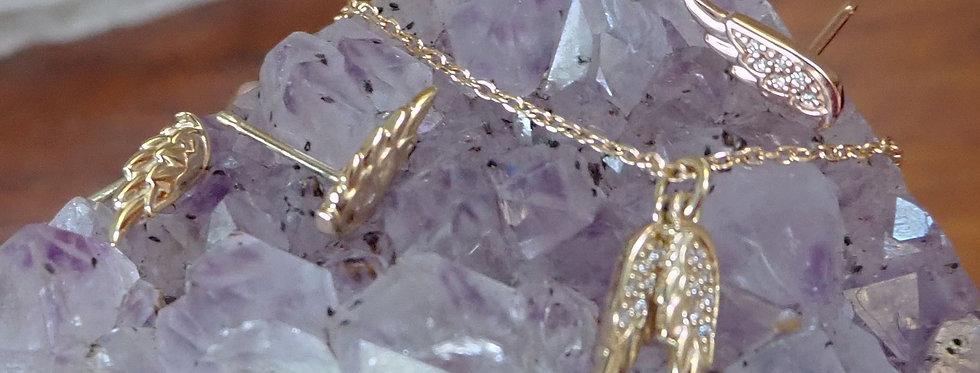 Guardian Angel Wings Pendant with Diamonds