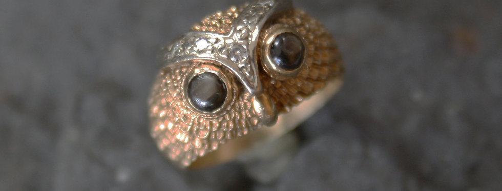 Mid Century Diamond and Sapphire Owl Ring in 14k Gold