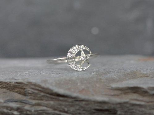 Art Deco Diamond Crescent Moon and Star Conversion Ring