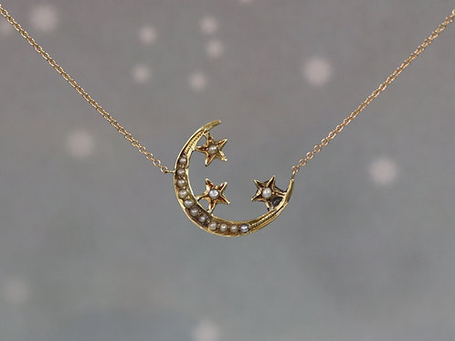 Victorian Crescent Moon and Star Necklace in 14k Gold with 14k Gold Adjustable C
