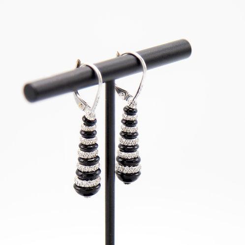 Elegant Edwardian Style Diamond & Black Onyx Drop Earrings in 18k White Gold