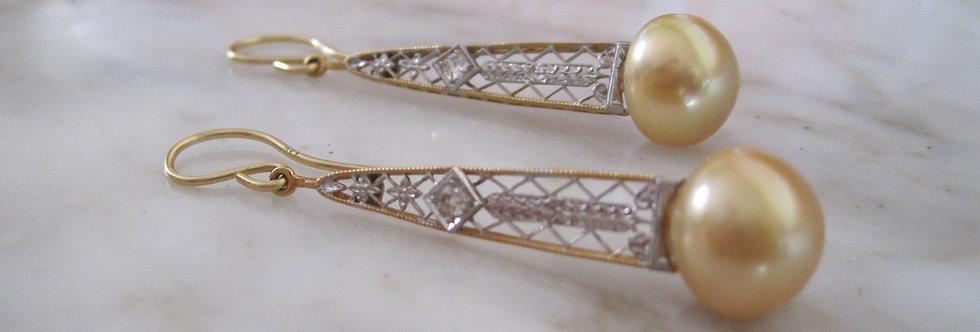 Art Deco Bridal Earrings Elegant Golden South Sea Pearl Drop Earrings in 18k Whi