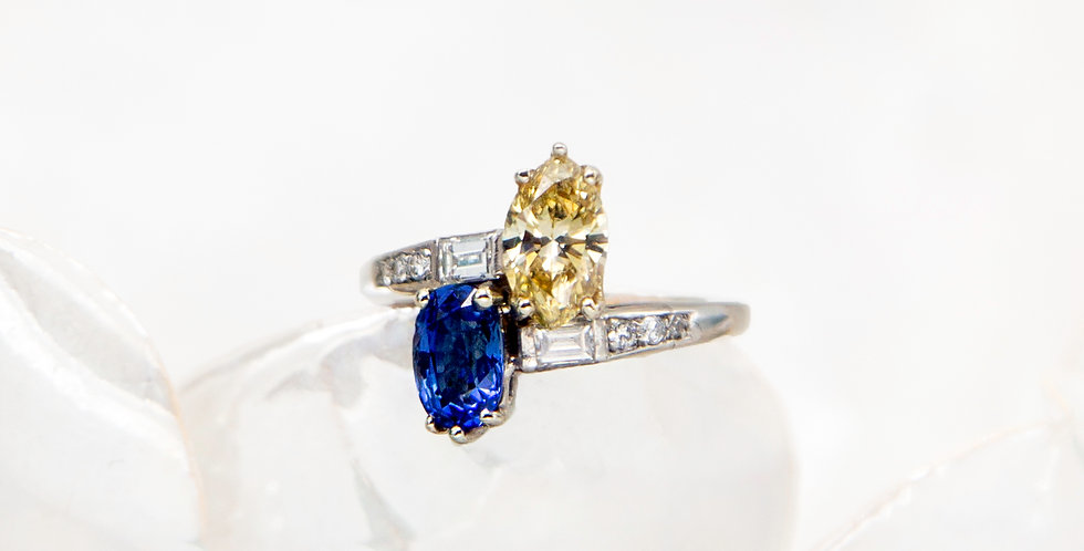Art Deco Bright Bypass Platinum with Fancy Yellow Diamond and Sapphire