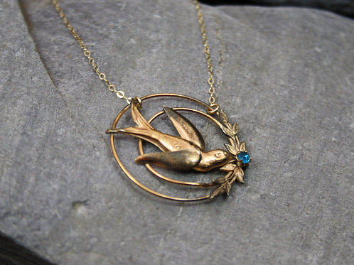 Victorian Swallow Necklace with Blue Glass on Gold Filled on Chain