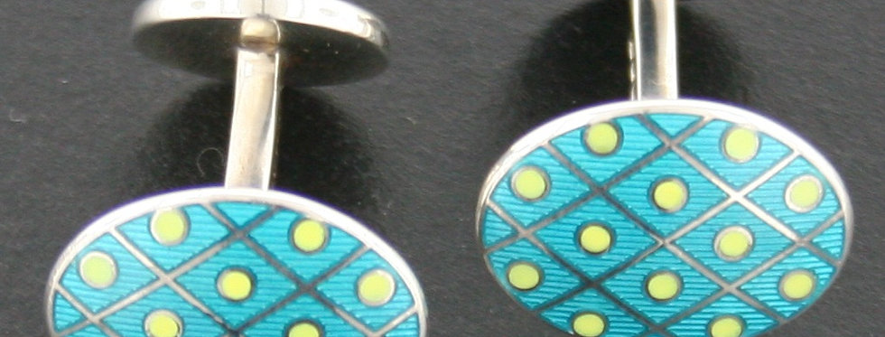 Deakin & Francis Turquoise and Yellow Enamel and Sterling Silver Cufflinks