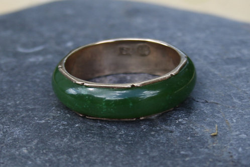 Vintage Retro 1950's Nephrite Jade Band in 10k Rose Gold 6.4 mm Size 9.5