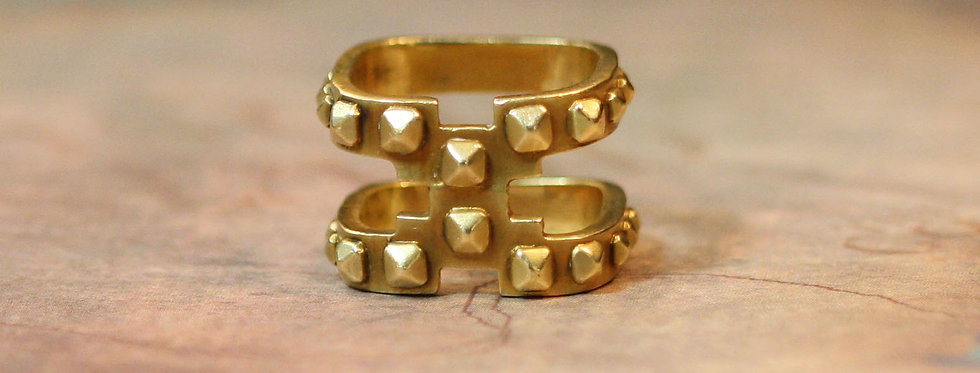 Harness Band 18k Yellow Gold Stud Band Circa 1970's