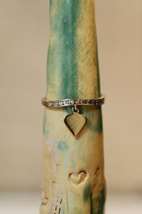 Diamond Charm Ring / Diamond Heart Charm Ring