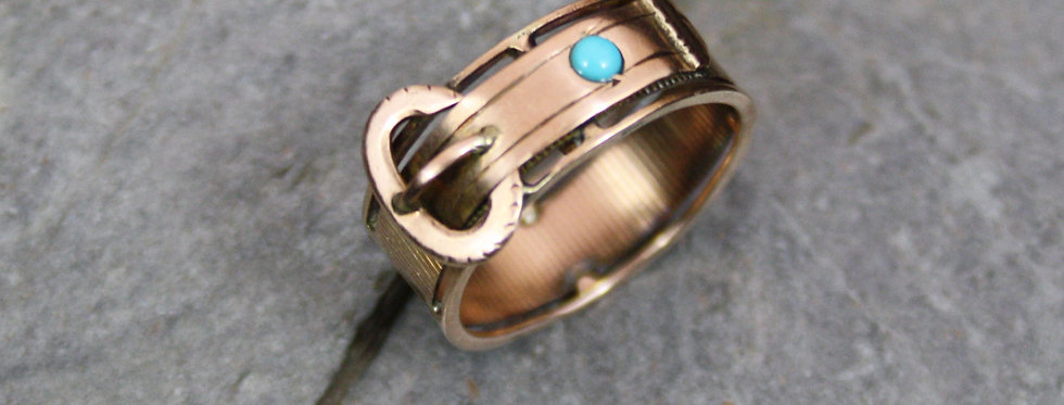 Victorian 9k Rose Gold Buckle Band with Turquoise Finger Size 5.5