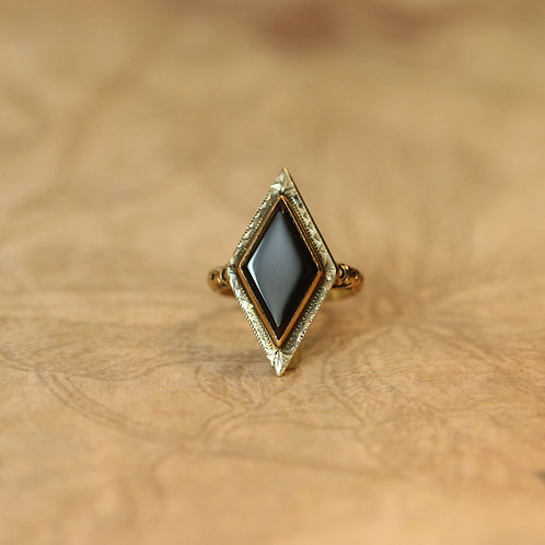 Art Deco Ring Large Diamond Shape Onyx Ring in 14k Gold