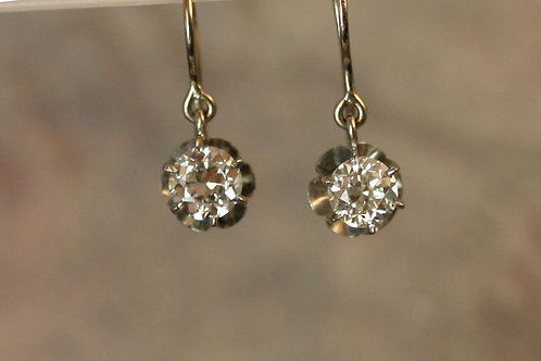 Antique Diamond Drop Earrings with Old European Cut Diamonds in 14k White Gold