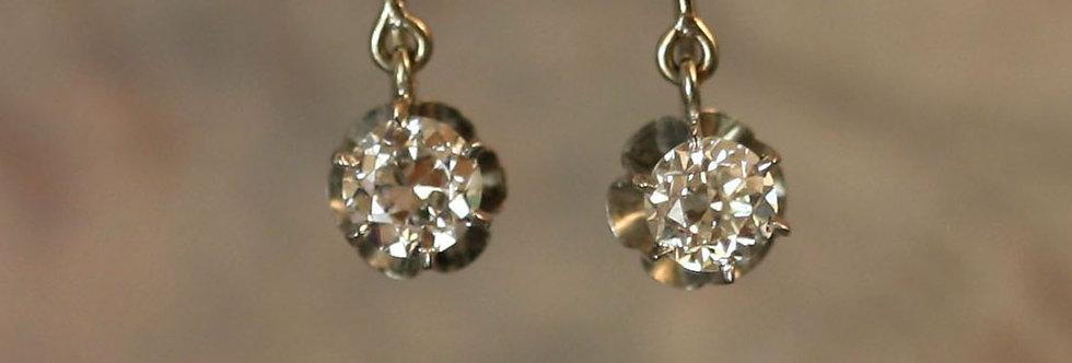 Antique Diamond Drop Earrings with Old European Cut Diamonds in 14k White Gold