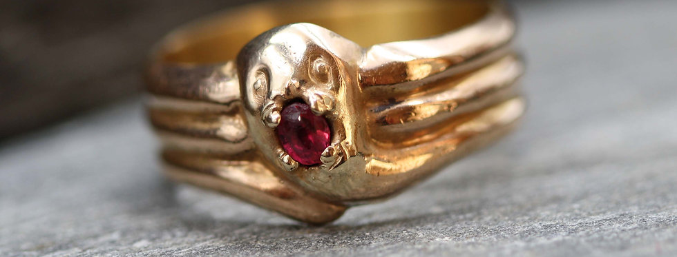 Men's Victorian Snake Ring in 9k Pink Gold Size 9 1/4