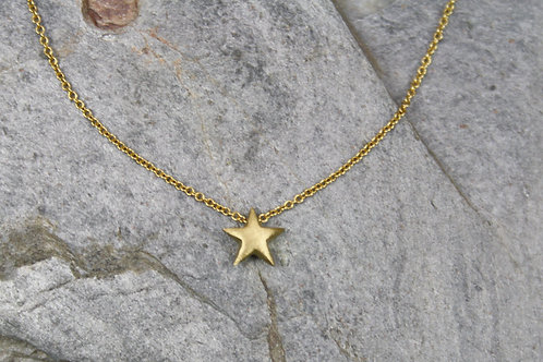 Petite 18k Gold Star Pendant on 18k Yellow Gold Cable Chain