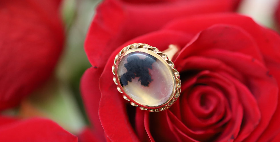 Art Nouveau Dendritic Picture Agate Moss Agate 14k Gold Ring by Ostby & Barton
