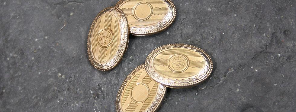 Antique Cuff Links 14k Gold / Victorian Cufflinks / Monogrammed Cuff Links