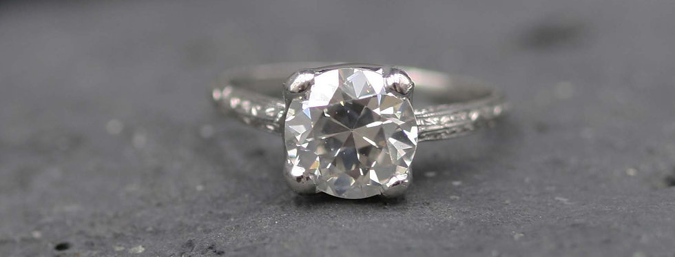 Antique Diamond Ring / 2.71 ct Old European Cut Diamond GIA Certified in Plt