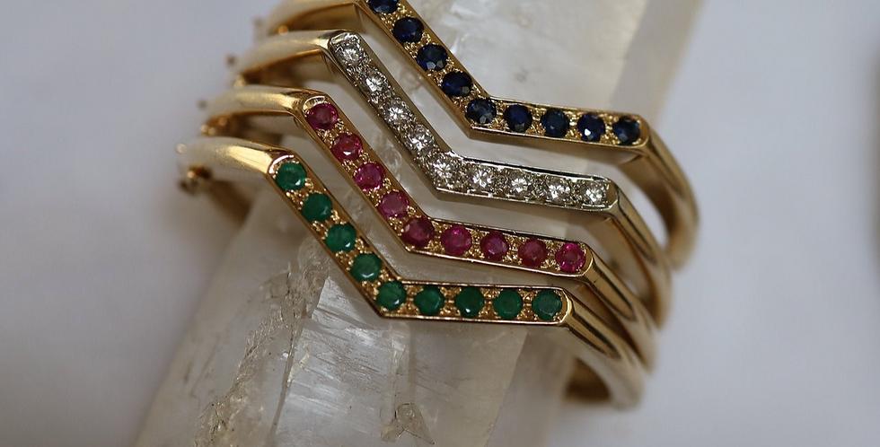 Vintage Chevron Bangles Diamond Bangle Ruby Bangle Emerald Bangle Sapphire