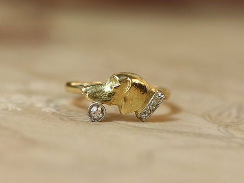 Art Nouveau Dog Ring with Diamond Collar 14k Gold and Platinum