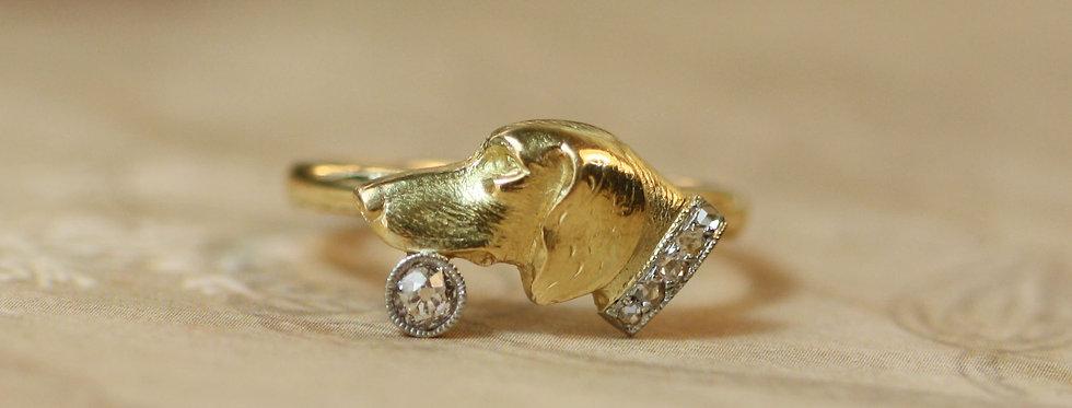 Art Nouveau Dog Ring with Diamond Collar 14k Gold and Platinum