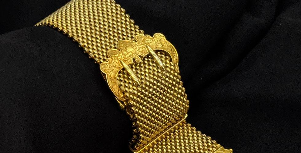 Victorian Mesh Buckle Bracelet with Tassle 18k Gold