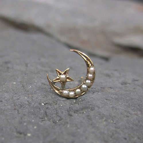 Single Stud Victorian Crescent Moon & Star Pearl Stud Earring 14K Yellow Gold
