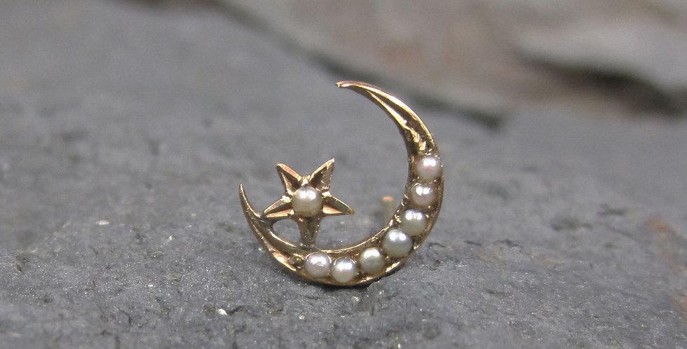 Single Stud Victorian Crescent Moon & Star Pearl Stud Earring 14K Yellow Gold